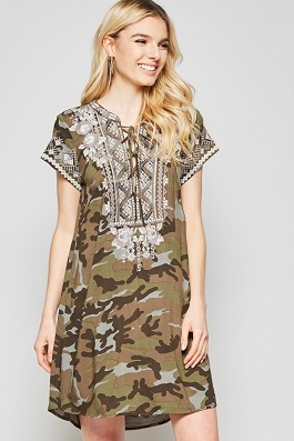 """Camille"" Camo Embroidered Dress"