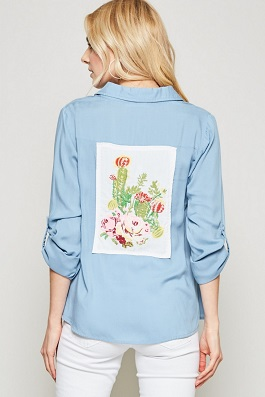 """""""Simple Bloom"""" Chambray Button Down Embroidered Cactus Back"""