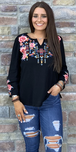 """Rio Rancho"" Black Embroidered Detail Henley Top"