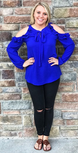 """Royalty"" Royal Blue Ruffle Cold Shoulder Top"