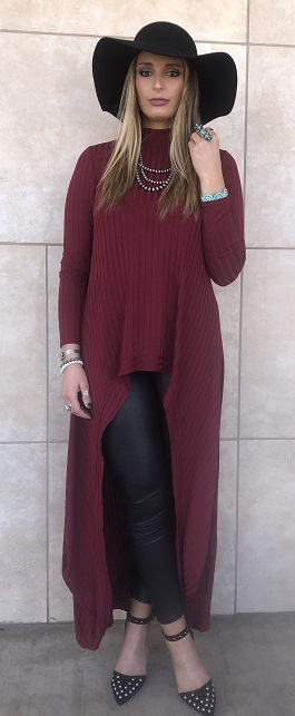 """Timeless Beauty"" Burgundy Hi Low Tunic"