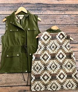 Olive Green Aztec Back Cargo Vest