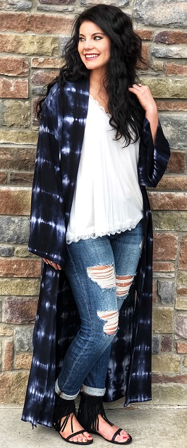 """Hippie Love"" Blue Tie Dye Duster With Slits"