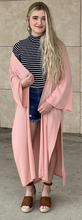"""Lady Luck"" Pink Lightweight Kimono Duster"