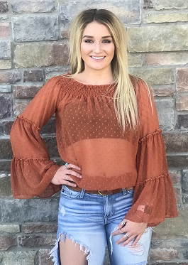 """Autumn Breeze"" Rust Bell Ruffle Sleeve Off The Shoulder Top"