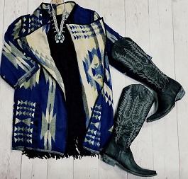 """Out West"" Blue Aztec Open Front With Trim Jacket"