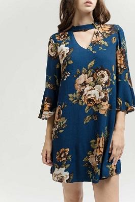 """""""Winter Bloom"""" Royal Blue Floral Dress"""