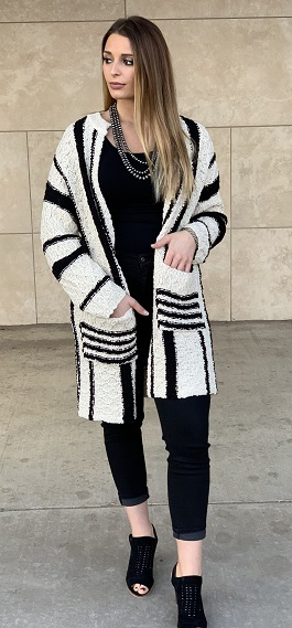 """Warmth Within"" Black & White Striped Cardigan With Pockets"