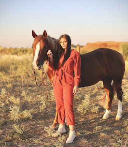 """""""Business Cowgirl"""" Rust Belted Jumpsuit"""