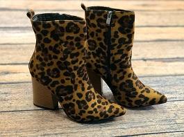 Leopard Heeled Bootie