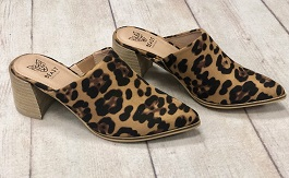 Leopard Heeled Mules