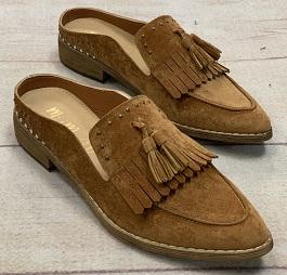 Camel Tassel Loafer Mule