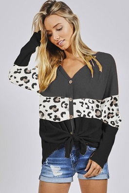 """Jane"" Leopard Color Block Button Down Top"