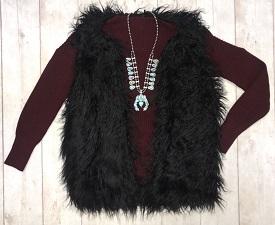 """Warm & Fuzzy"" Black Long Faux Fur Vest"