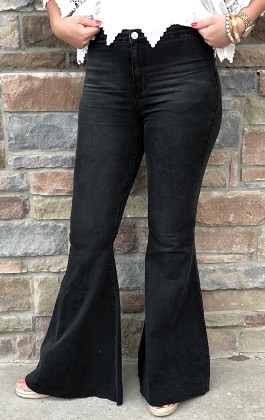 Black Denim Super Flared Pants