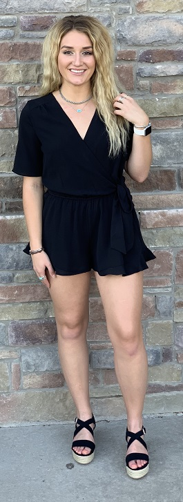 """Love Potion"" Black Tie Wrap Ruffle Romper"