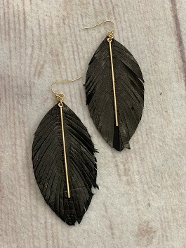 Black Feather Earring W/Gold Accent