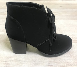 Black Lace Up Heeled Bootie