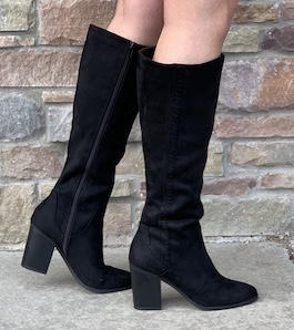 Black Heeled Knee High Boot