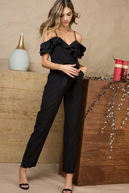 """I'm The One"" Black Ruffle Tie Waist Jumpsuit"