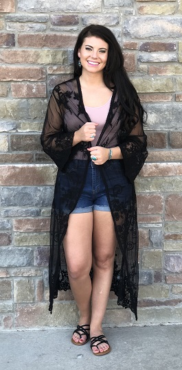 """Deep Desire"" Black Embroidered Lace Duster"