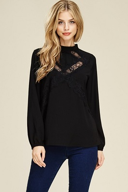 """Date Night"" Black Lace Insert Top"