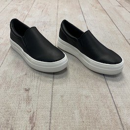 Black Leather Like Sneaker With Thick Sole