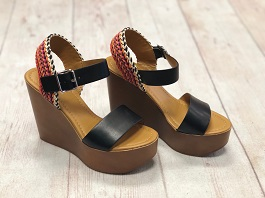 Black Multi Color Braided Wedge