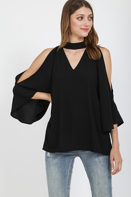 """Dinner Date"" Black Open Shoulder Top"