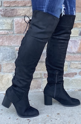 Black Over The Knee Lace Up Heeled Boot
