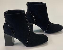Black Studded Heeled Bootie