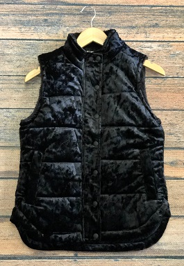 Black Crushed Velvet Puffer Vest