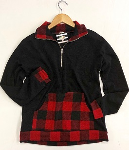"""All For Plaid"" Black/ Red Plaid Pocket Pulllover"