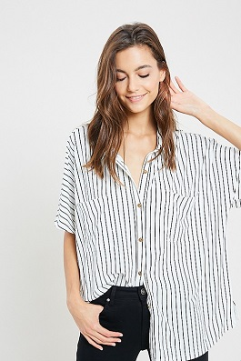 """Kendra"" White & Black Striped Button Down Top"