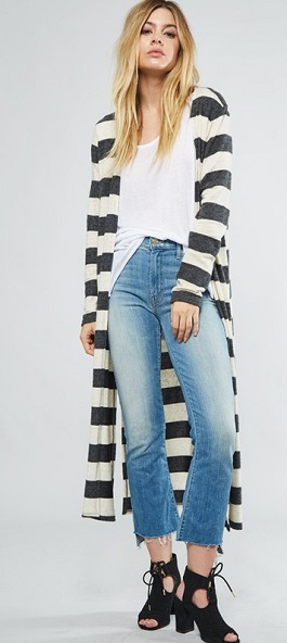 """""""Simply Sophisticated"""" Taupe & Charcoal Striped Cardigan"""