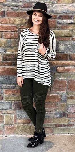 """Heather"" Black & White Striped Top"