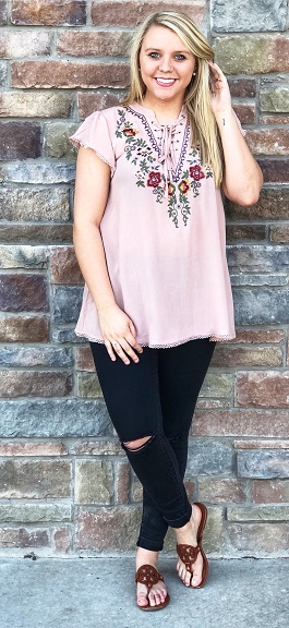 """Emmi"" Mauve Embroidered Lace Up Top"