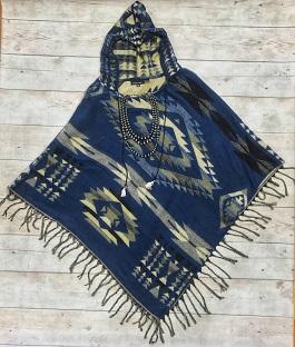 """Native Spirit"" Blue Multi Aztec Poncho"