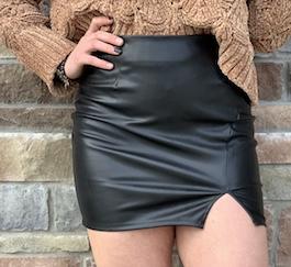 """Show Stopper"" Black Faux Leather Skirt"