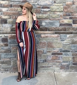 """Landslide"" Striped Maxi Off Shoulder Dress"
