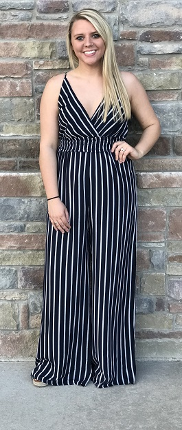 """Saturday Sun"" Navy Striped Cross Over Jumpsuit"