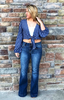 """Lyndi"" Blue & White Tie Front Top"