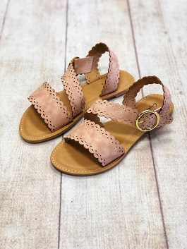 Blush Distressed Buckle Sandal