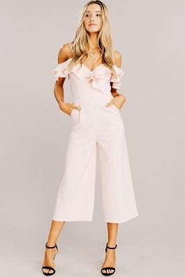 """Flatter Me"" Blush Ruffle Cropped Pant Jumpsuit"