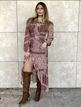 """Boho Beauty"" Paisley Printed Ruffle Maxi Dress"