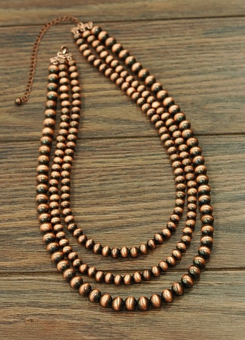 Bronze Triple Multi Strand Necklace
