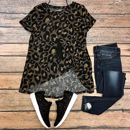 """Wild Side"" Brown Leopard Front Knot Tee"