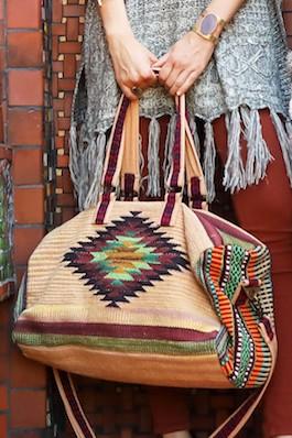 Boho Chic Aztec Inspired Boston Duffle Bag