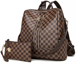 Brown Luxe Checkered Backpack Set
