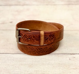 Brown Leather Tooled Belt